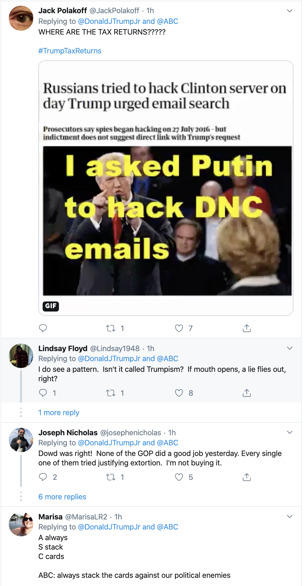 Screen-Shot-2019-11-14-at-3.20.14-PM Don Jr. Is Going Thursday-Crazy On Twitter Over Impeachment Corruption Crime Domestic Policy Donald Trump Election 2016 Election 2020 Featured Feminism Foreign Policy Impeachment Investigation Me Too Media Politics Social Media Television Top Stories Women's Rights