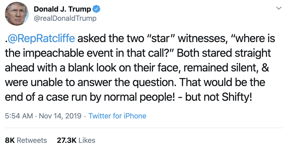 Screen-Shot-2019-11-14-at-7.16.35-AM-1 Trump Goes On Pre-Dawn Conspiracy-Laden Twitter Spree Conspiracy Theory Corruption Crime Domestic Policy Donald Trump Election 2016 Election 2020 Featured Foreign Policy History Impeachment Investigation Military National Security Politics Russia Television Top Stories War