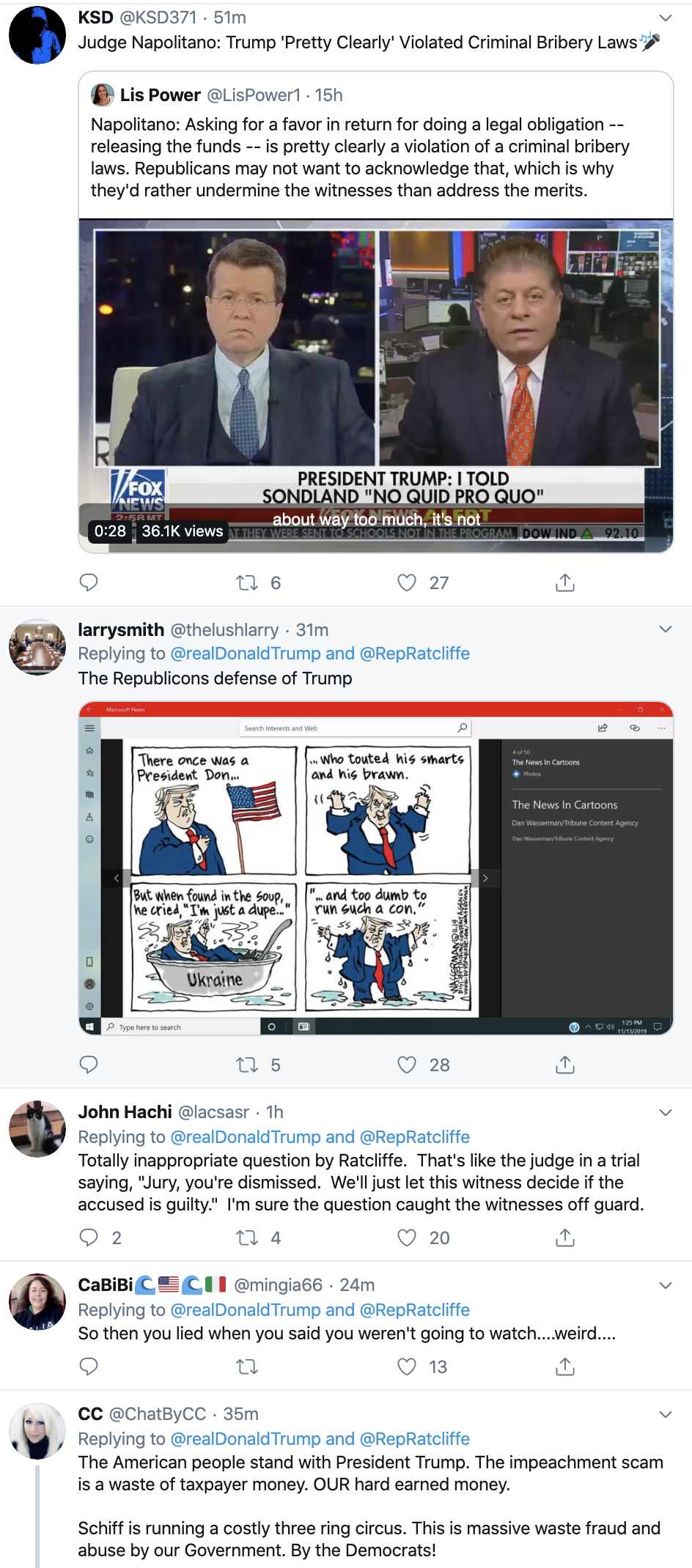 Screen-Shot-2019-11-14-at-7.19.11-AM Trump Goes On Pre-Dawn Conspiracy-Laden Twitter Spree Conspiracy Theory Corruption Crime Domestic Policy Donald Trump Election 2016 Election 2020 Featured Foreign Policy History Impeachment Investigation Military National Security Politics Russia Television Top Stories War