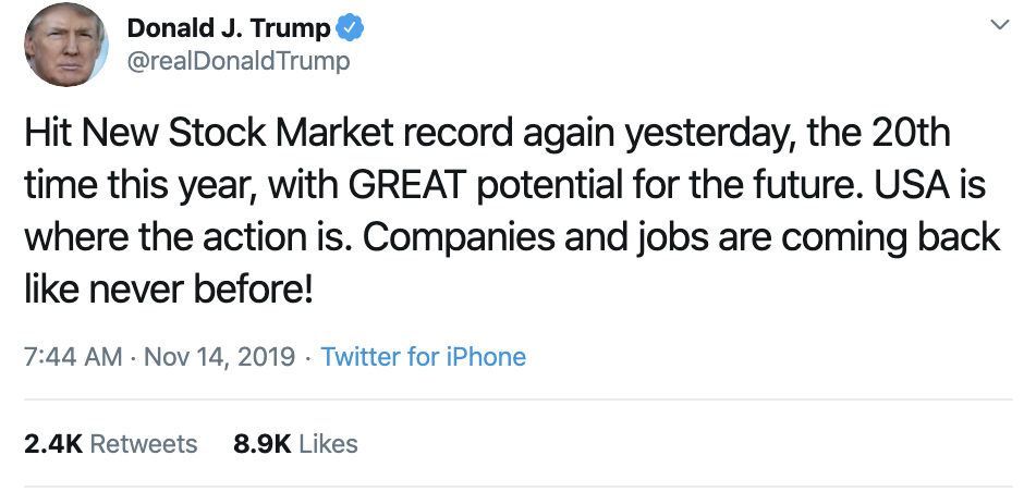 Screen-Shot-2019-11-14-at-7.54.25-AM Trump Goes On Pre-Dawn Conspiracy-Laden Twitter Spree Conspiracy Theory Corruption Crime Domestic Policy Donald Trump Election 2016 Election 2020 Featured Foreign Policy History Impeachment Investigation Military National Security Politics Russia Television Top Stories War