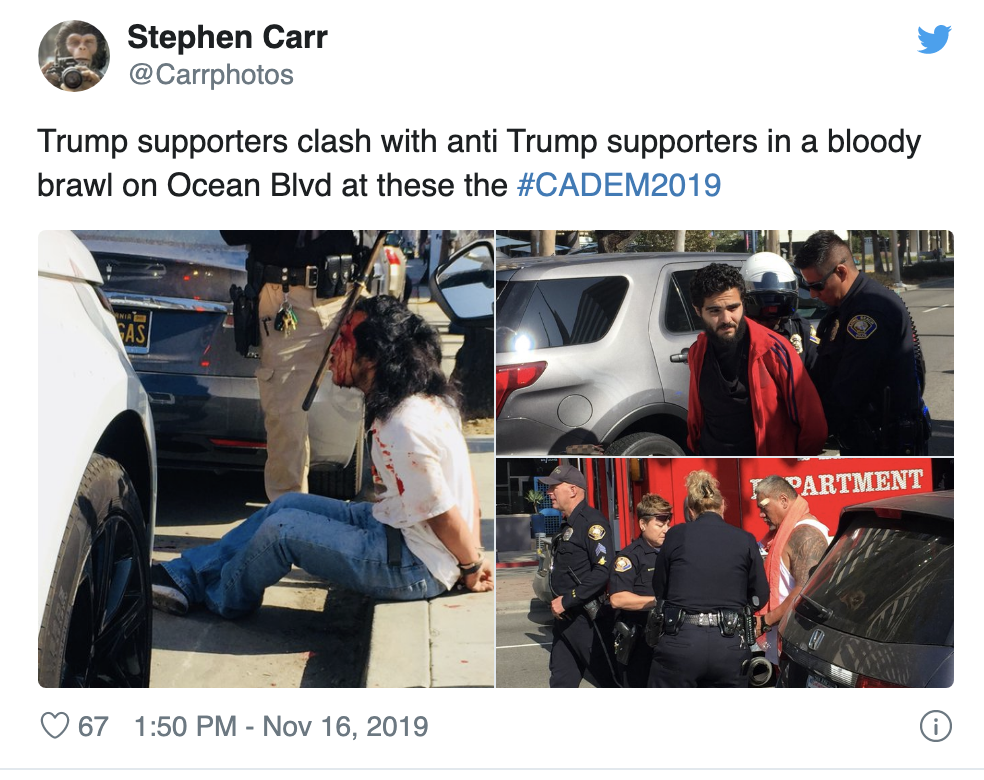 Screen-Shot-2019-11-17-at-5.04.11-PM Trump Voter Smacked With Scooter During 'Bloody Brawl' Outside Presidential Event Civil Rights Corruption Domestic Policy Donald Trump Election 2016 Election 2020 Featured Hate Speech Human Rights Impeachment Investigation National Security Politics Racism Top Stories White Privilege White Supremacy