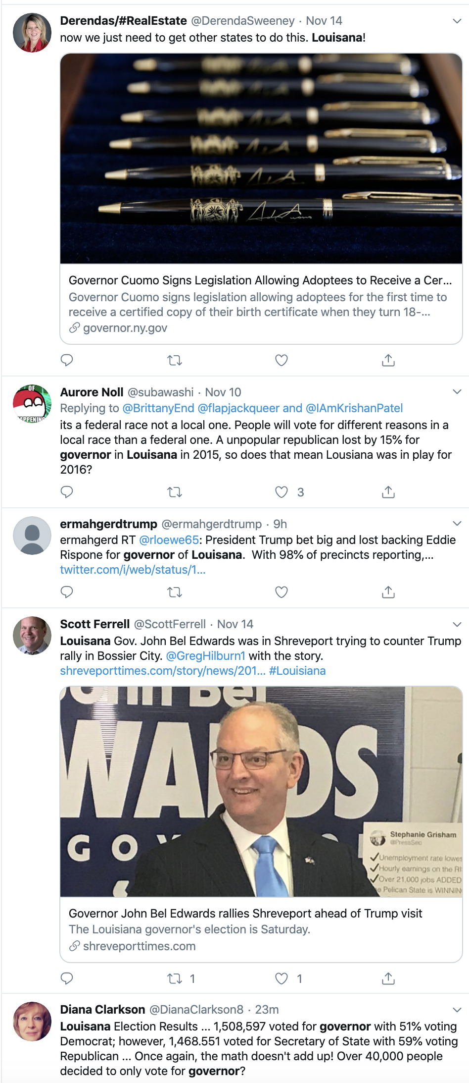 Screen-Shot-2019-11-17-at-8.16.47-AM Thousands Troll Trump Over Louisiana Governor Election Loss Domestic Policy Donald Trump Election 2018 Election 2020 Featured Politics Top Stories