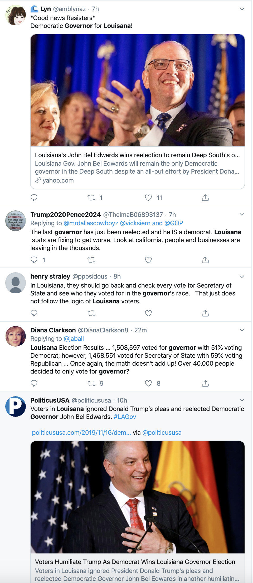 Screen-Shot-2019-11-17-at-8.16.59-AM Thousands Troll Trump Over Louisiana Governor Election Loss Domestic Policy Donald Trump Election 2018 Election 2020 Featured Politics Top Stories