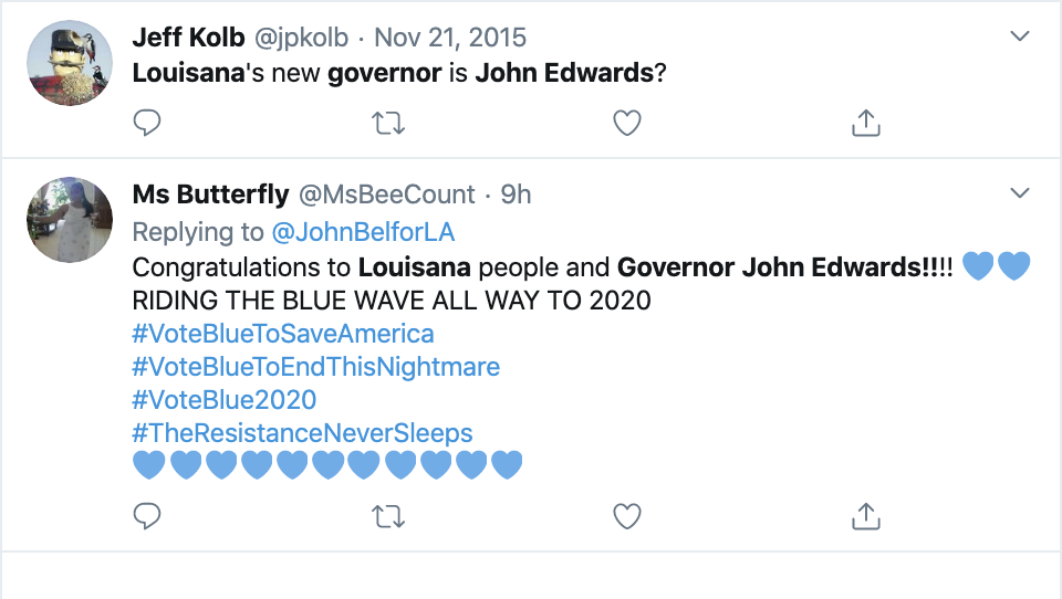 Screen-Shot-2019-11-17-at-8.18.36-AM Thousands Troll Trump Over Louisiana Governor Election Loss Domestic Policy Donald Trump Election 2018 Election 2020 Featured Politics Top Stories