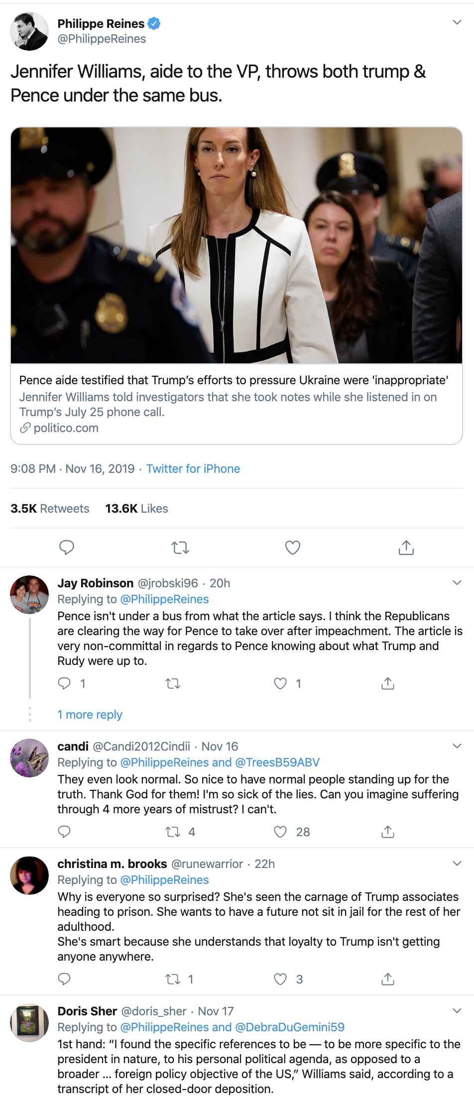 Screen-Shot-2019-11-18-at-10.26.07-AM Pence Throws His Top Security Aide Under The Bus For Testifying Corruption Crime Donald Trump Election 2016 Election 2020 Featured Feminism Foreign Policy Impeachment Investigation Me Too National Security Politics Satire Top Stories Women's Rights