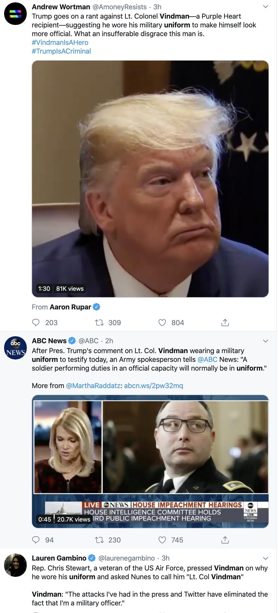 Screen-Shot-2019-11-19-at-3.11.44-PM Trump Derides Vindman For Wearing His Uniform During Testimony Donald Trump Impeachment Military Top Stories Veterans