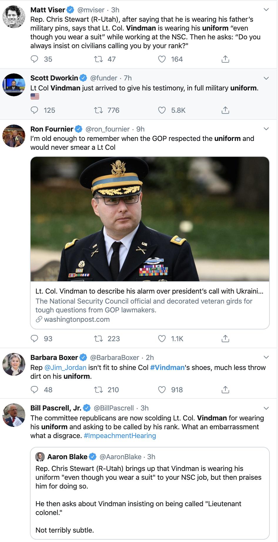Screen-Shot-2019-11-19-at-3.12.44-PM Trump Derides Vindman For Wearing His Uniform During Testimony Donald Trump Impeachment Military Top Stories Veterans