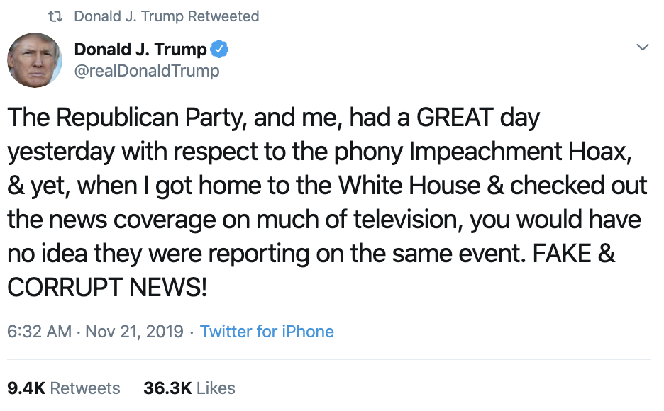 Screen-Shot-2019-11-21-at-7.48.36-AM Trump Goes On Hate-Fueled Thursday AM Impeachment Rant Corruption Crime Featured Impeachment Top Stories