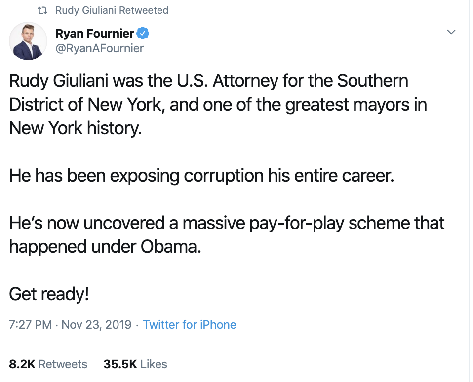 Screen-Shot-2019-11-24-at-9.09.30-AM Giuliani Snaps & Launches Psychotic 2 Tweet Mental Collapse Corruption Crime Donald Trump Impeachment Top Stories