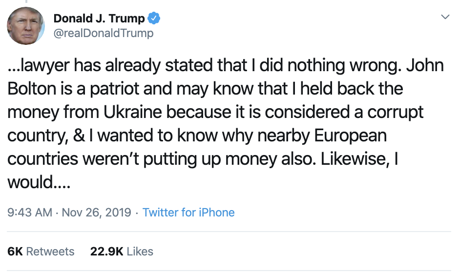 Screen-Shot-2019-11-26-at-12.17.42-PM Trump Humorously Tries To Make Himself A Martyr On Twitter Crime Featured History Impeachment Top Stories