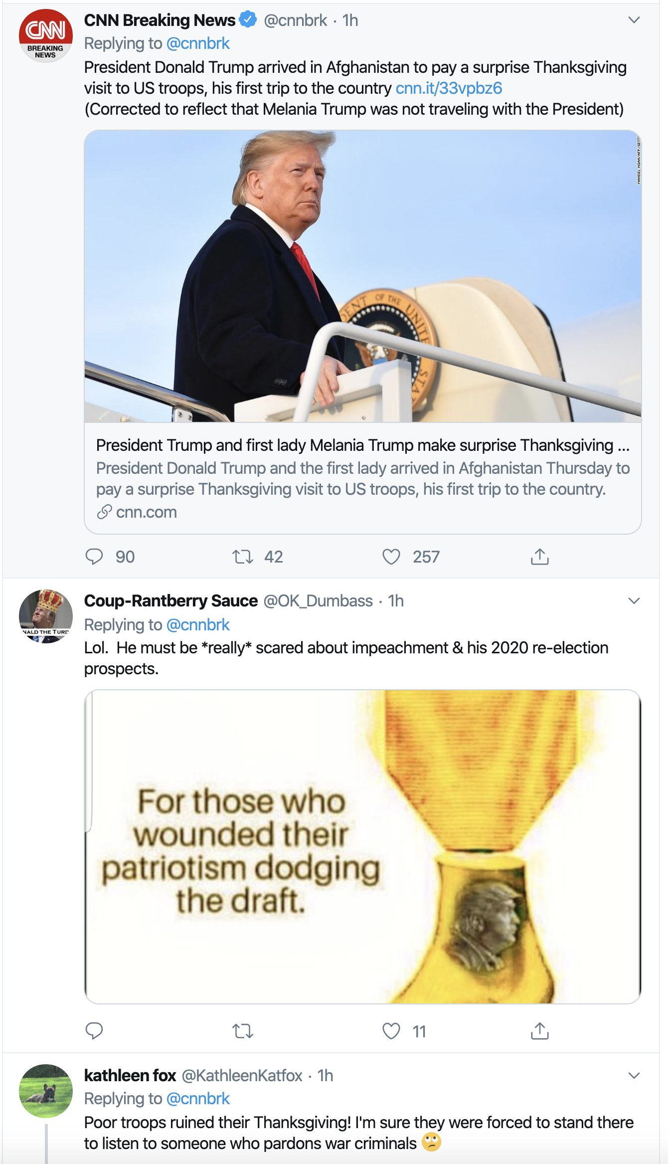 Screen-Shot-2019-11-28-at-3.12.12-PM Trump Gets Weird During Surprise Thanksgiving Visit To Afghanistan Economy Featured Military Top Stories War