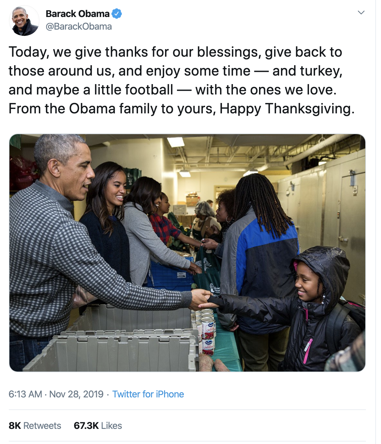 Screen-Shot-2019-11-28-at-7.34.59-AM Barack Obama Tweets Thanksgiving Message That Will Make You Swoon Celebrities Domestic Policy Featured History Humanitarian Poverty Top Stories