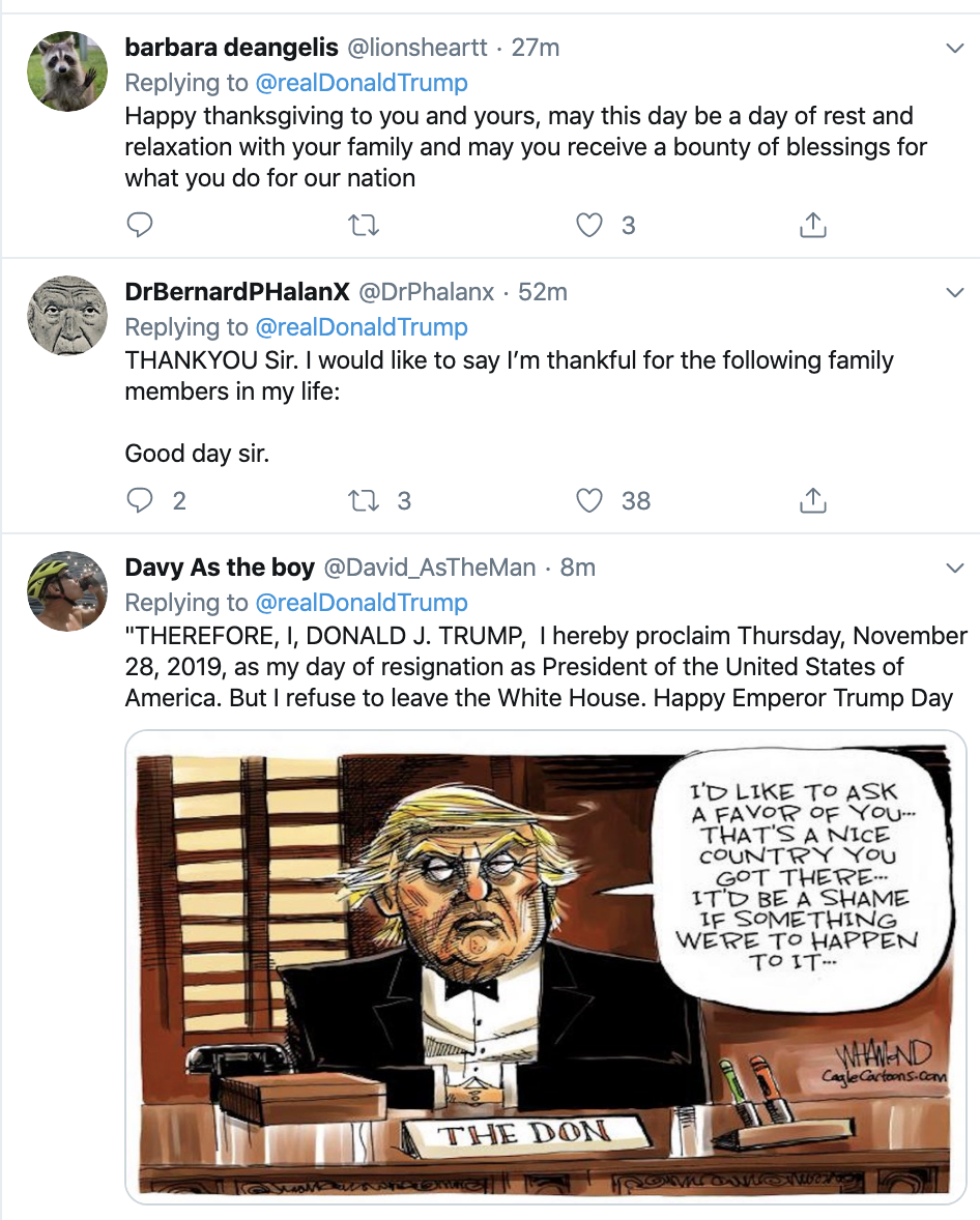 Screen-Shot-2019-11-28-at-8.15.19-AM Trump Tweets Phony Thanksgiving Message & Is Instantly Rejected Corruption Election 2020 Featured Impeachment Politics Top Stories