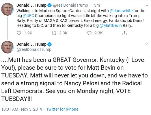 Screenshot-2019-11-03-at-10.14.09-AM Trump Tweets Embarrassing Response To Boos At Madison Square Garden Donald Trump Politics Social Media Top Stories