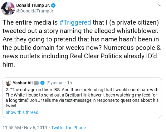 Screenshot-2019-11-06-at-12.41.28-PM Trump Jr. Appears To Regret Outing 'Whistleblower' With 2 Tweet Backtrack Donald Trump Politics Social Media Top Stories