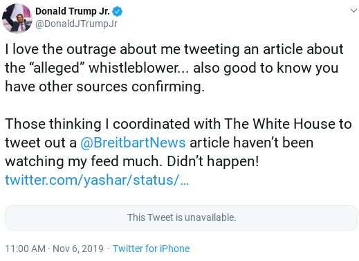 Screenshot-2019-11-06-at-12.42.06-PM Trump Jr. Appears To Regret Outing 'Whistleblower' With 2 Tweet Backtrack Donald Trump Politics Social Media Top Stories