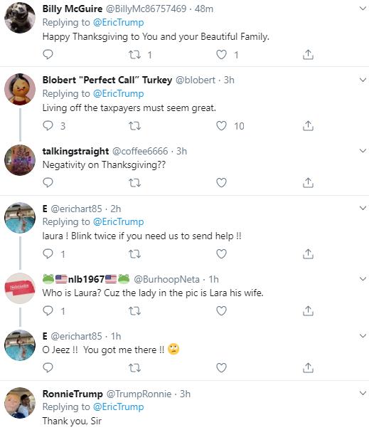 eric20 Eric Trump Tweets Pathetic Thanksgiving Message & Gets Mocked Hard Corruption Donald Trump Politics Social Media Top Stories