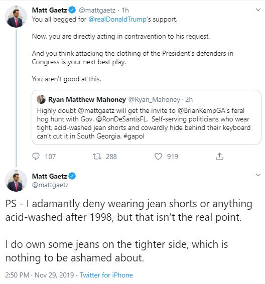 gaetzm Gaetz Escalates Bizarre Twitter Meltdown Over Gov's Senate Pick Donald Trump Politics Social Media Top Stories