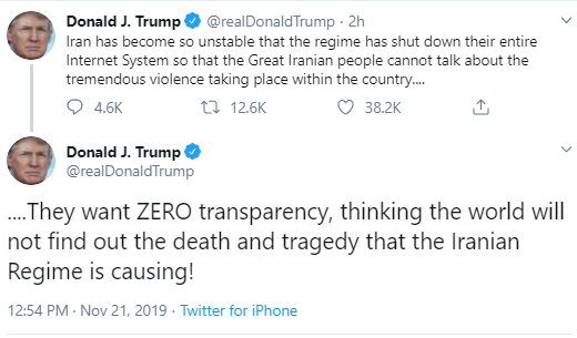 iran Trump Furiously Tweets As Impeachment Hearings Continue Donald Trump Politics Social Media Top Stories
