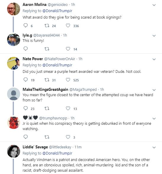 j19 Trump Jr. Tweets Desperate Attack On Vindman During Testimony Corruption Donald Trump Impeachment Investigation Politics Social Media Top Stories