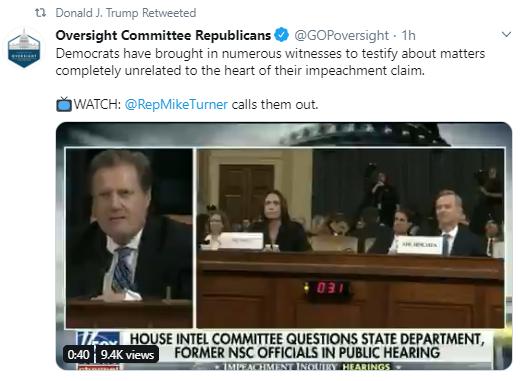 rt4 Trump Furiously Tweets As Impeachment Hearings Continue Donald Trump Politics Social Media Top Stories