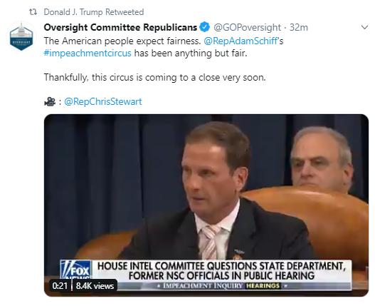rt7 Trump Furiously Tweets As Impeachment Hearings Continue Donald Trump Politics Social Media Top Stories