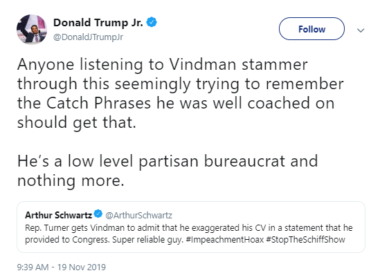 tj-twitter Trump Jr. Tweets Desperate Attack On Vindman During Testimony Corruption Donald Trump Impeachment Investigation Politics Social Media Top Stories