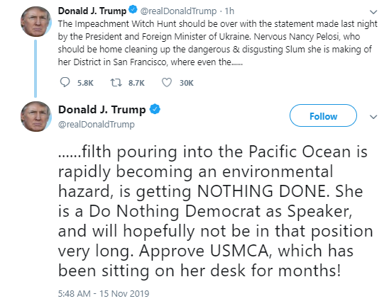 tweeet Trump Attacks Pelosi As Public Hearing Blows Up In His Face Donald Trump Impeachment Politics Social Media Top Stories