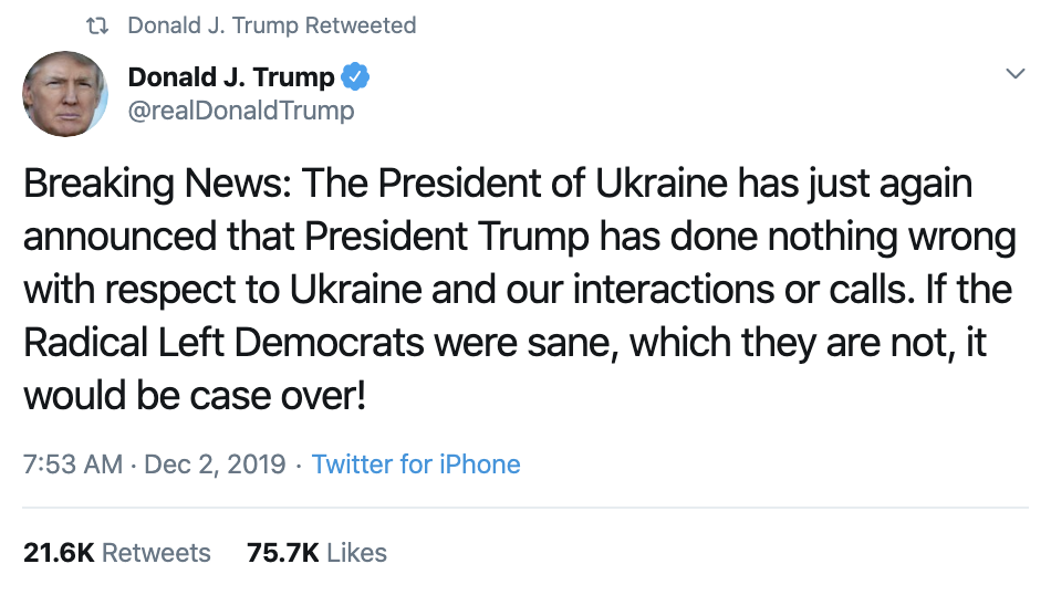 Screen-Shot-2019-12-02-at-2.27.41-PM Trump Unleashes 14-Tweet Freakout Like A Guy With Poor Work Ethic Corruption Featured Foreign Policy Impeachment Top Stories