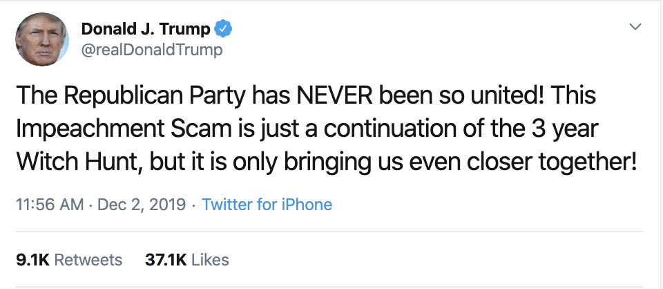 Screen-Shot-2019-12-02-at-2.35.32-PM Trump Unleashes 14-Tweet Freakout Like A Guy With Poor Work Ethic Corruption Featured Foreign Policy Impeachment Top Stories