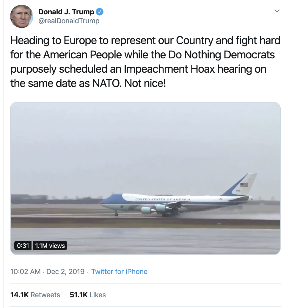 Screen-Shot-2019-12-02-at-2.41.24-PM Trump Unleashes 14-Tweet Freakout Like A Guy With Poor Work Ethic Corruption Featured Foreign Policy Impeachment Top Stories