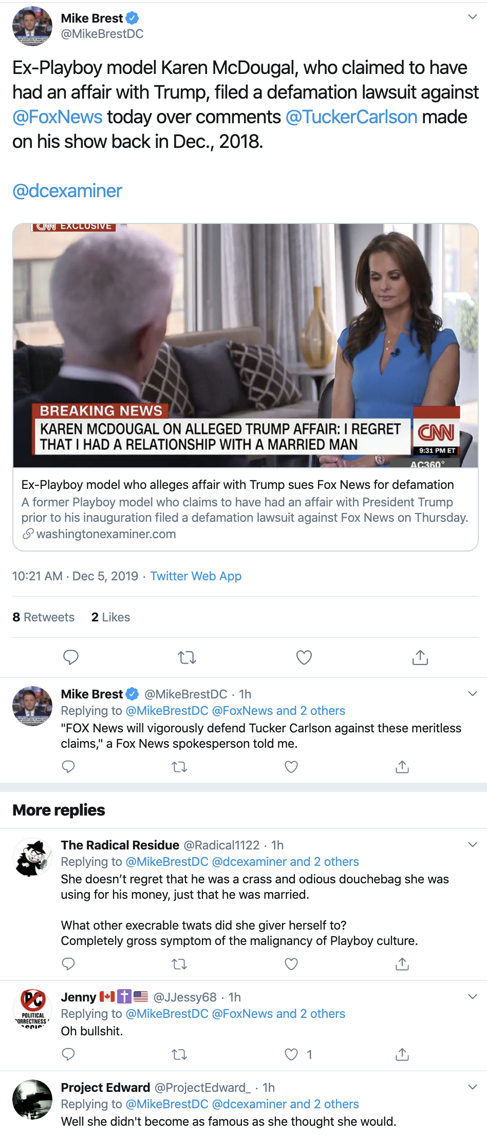 Screen-Shot-2019-12-05-at-11.52.49-AM Trump Accuser Karen McDougal Takes Tucker Carlson To Court Corruption Featured Feminism Me Too Top Stories