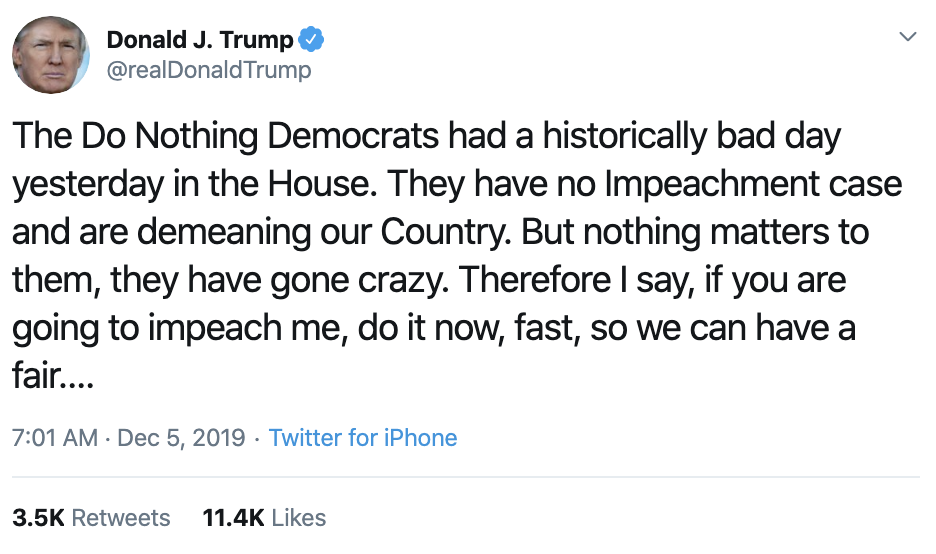 Screen-Shot-2019-12-05-at-7.17.50-AM Trump Taunts Dems On Twitter Over Impeachment: 'Do It Now!' Corruption Featured Impeachment Investigation Top Stories