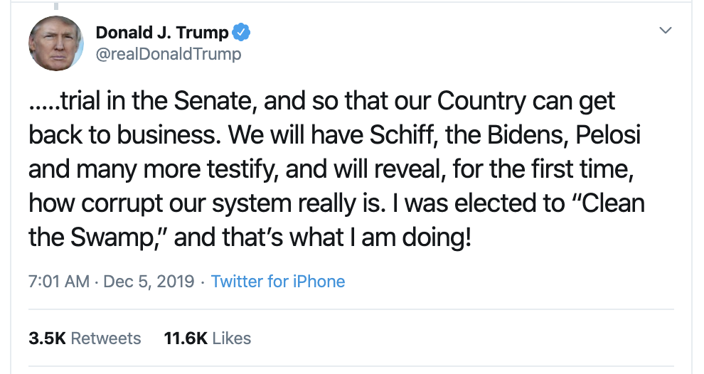 Screen-Shot-2019-12-05-at-7.18.41-AM Trump Taunts Dems On Twitter Over Impeachment: 'Do It Now!' Corruption Featured Impeachment Investigation Top Stories