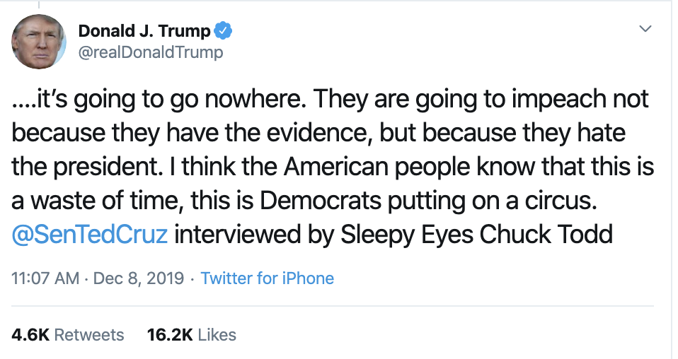 Screen-Shot-2019-12-08-at-12.22.31-PM Trump Has Impeachment Induced Sunday Twitter Freakout Election 2020 Featured Foreign Policy Impeachment Top Stories
