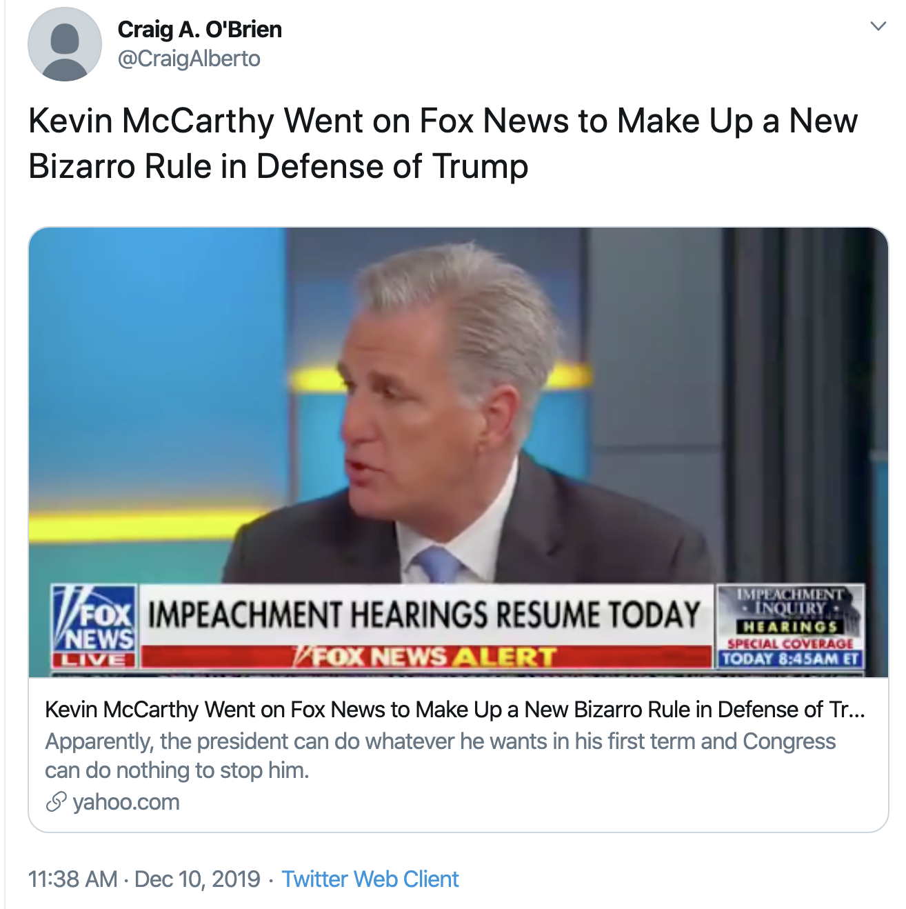 Screen-Shot-2019-12-10-at-1.17.13-PM Fox News Host Pulls The Plug On McCarthy During On-Air Tantrum Corruption Featured History Impeachment Investigation Top Stories