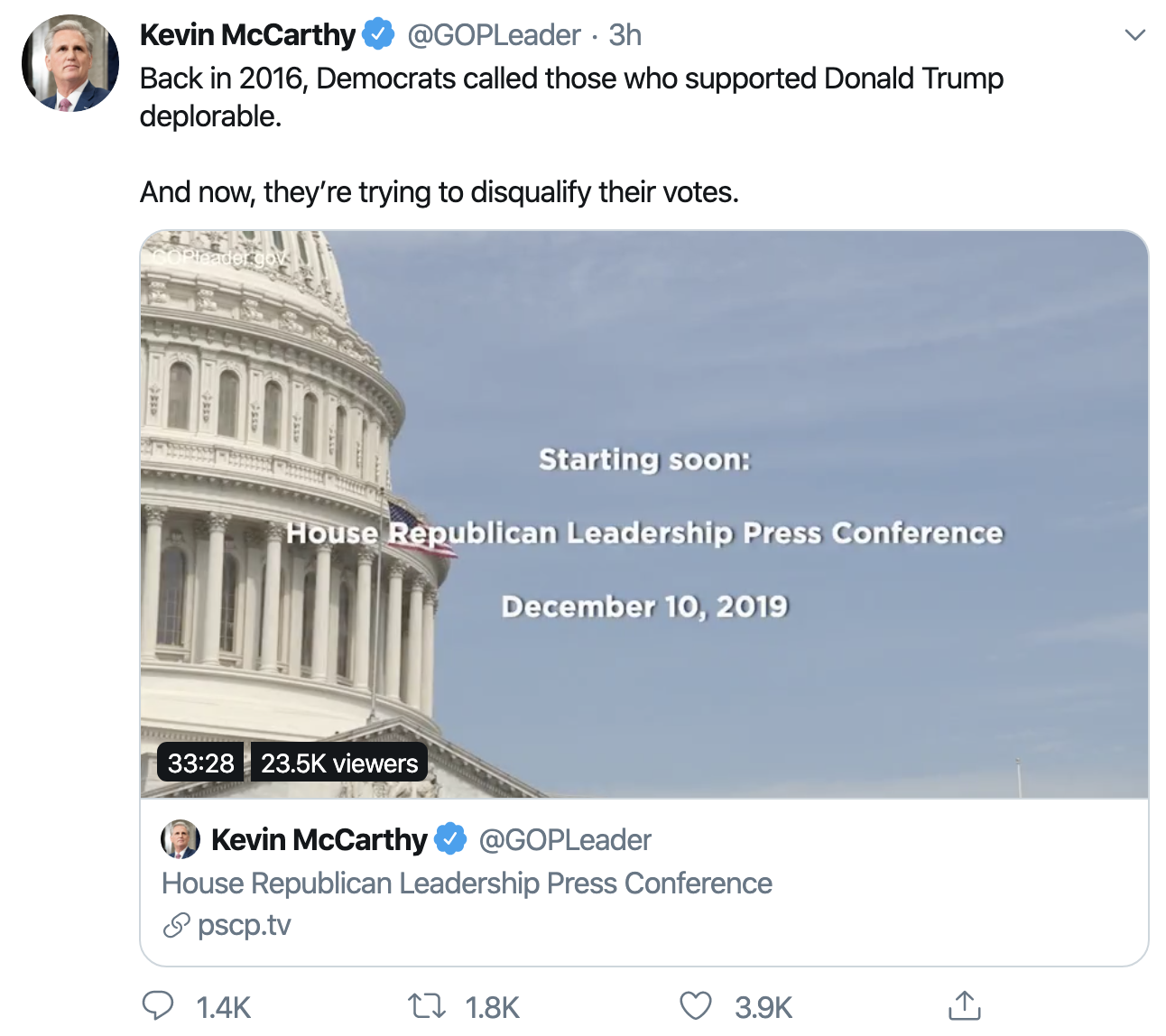Screen-Shot-2019-12-10-at-1.40.09-PM Fox News Host Pulls The Plug On McCarthy During On-Air Tantrum Corruption Featured History Impeachment Investigation Top Stories