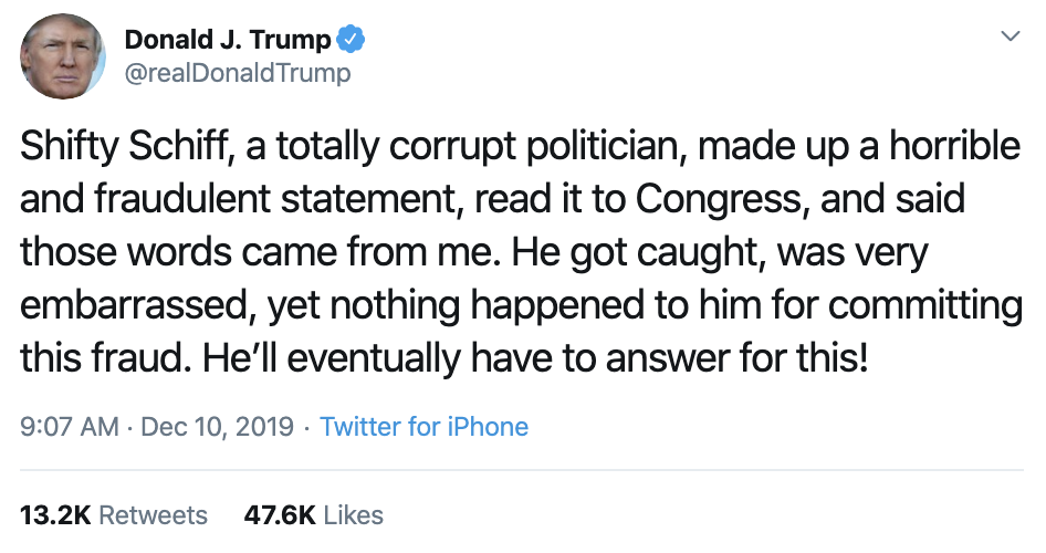 Screen-Shot-2019-12-10-at-10.33.46-AM-1 Trump Goes Off On Twitter After Articles Of Impeachment Introduced Crime Featured Impeachment Mental Illness Top Stories