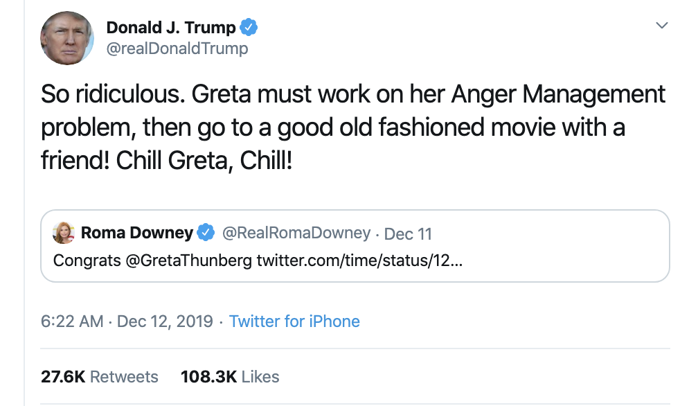 Screen-Shot-2019-12-12-at-12.21.10-PM Melania Trump Publicly Shamed After Trump Attacks Greta Thunberg Celebrities Child Abuse Environment Featured Top Stories