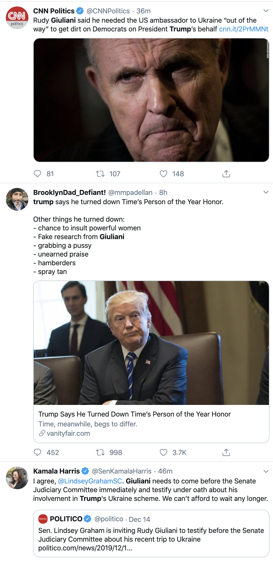Screen-Shot-2019-12-16-at-4.34.14-PM Trump Just Defended Giuliani In The Most Ridiculous Way Ever Corruption Crime Featured Impeachment Top Stories