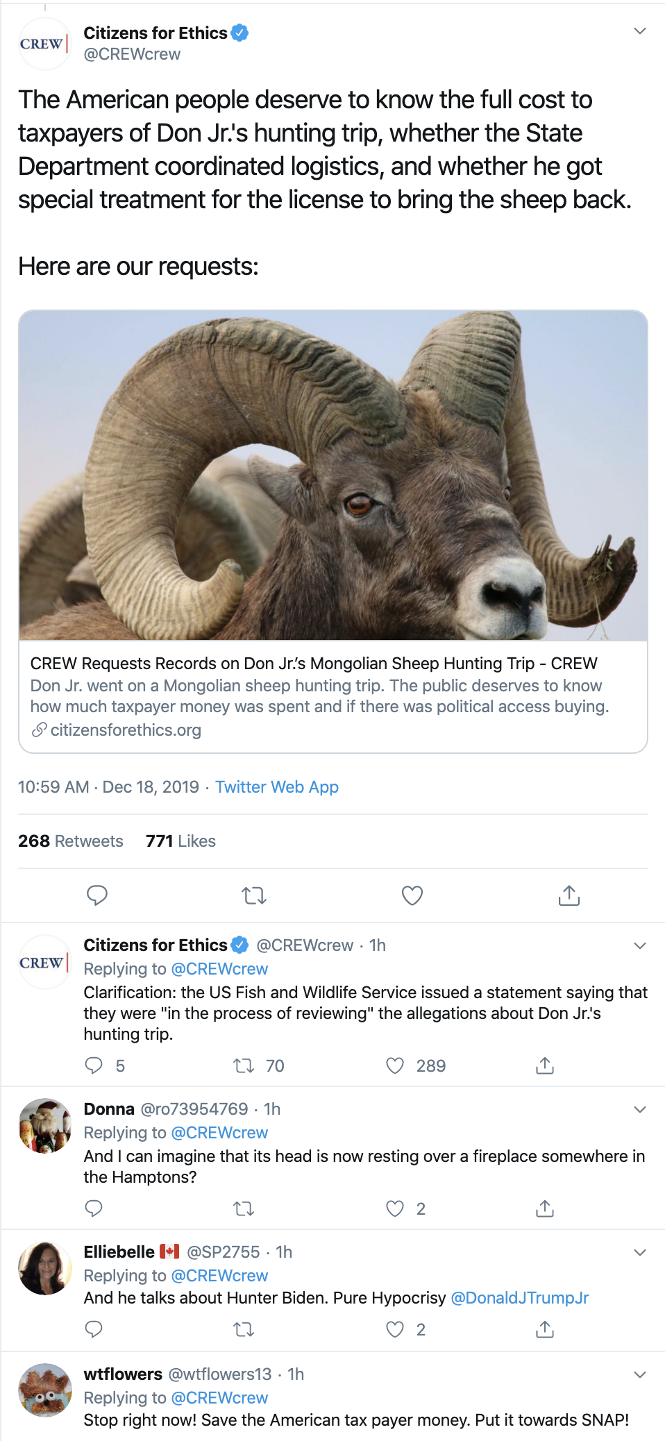Screen-Shot-2019-12-18-at-12.25.55-PM Don Jr Under Federal Investigation Over Exotic Animal Poaching Crimes Corruption Crime Featured Gun Control Top Stories
