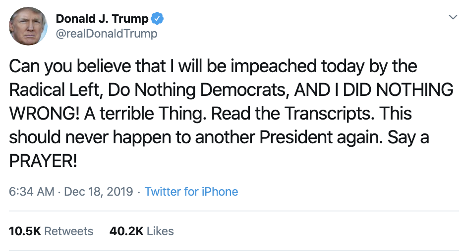 Screen-Shot-2019-12-18-at-7.24.04-AM Trump Launches Pre-Dawn Impeachment Induced Mental Breakdown Donald Trump Featured Impeachment Social Media Top Stories