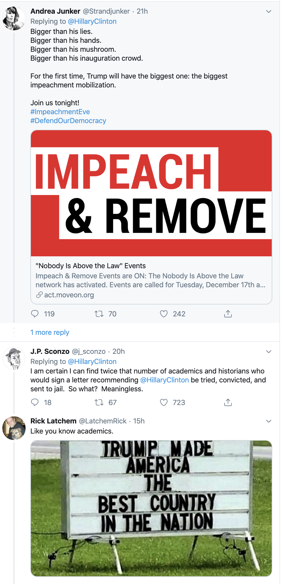 Screen-Shot-2019-12-18-at-8.15.29-AM Hillary Upstages Trump On Impeachment Day With Defiant Twitter Trolling Featured Hillary Clinton Impeachment Social Media Top Stories