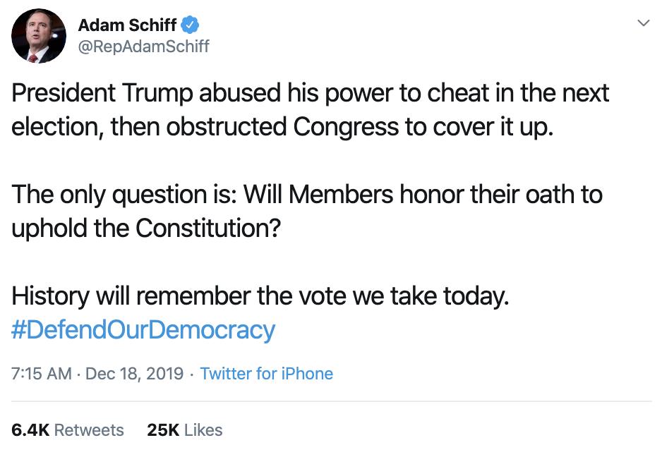 Screen-Shot-2019-12-18-at-8.29.53-AM Adam Schiff Tweets Impeachment Day Trolling Of Trump. Donald Trump Featured Impeachment Russia Top Stories