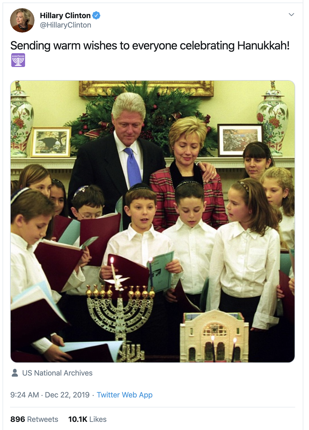 Screen-Shot-2019-12-22-at-11.10.18-AM Hillary Clinton Tweets Sunday Message Like A Real Leader Anti-Semitism Celebrities Featured Religion Top Stories
