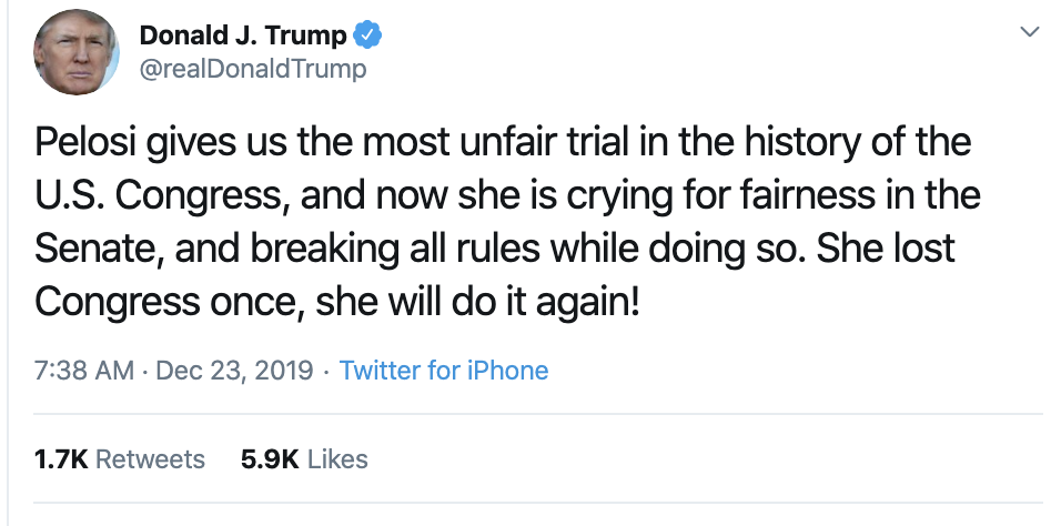 Screen-Shot-2019-12-23-at-7.43.23-AM Trump Flies Out Of Bed For Monday AM Impeachment Meltdown Election 2020 Featured Feminism Impeachment Top Stories