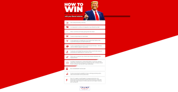 Screen-Shot-2019-12-24-at-11.19.31-AM Trump Site Gives Tips To Supporters On How To Be Bigger Jerks Corruption Featured Impeachment Politics Top Stories