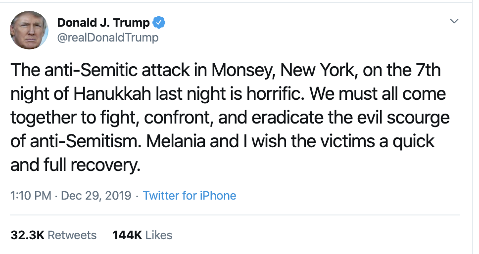 Screen-Shot-2019-12-30-at-10.16.24-AM Trump Gets Blasted After Politicizing Hanukkah Stabbings Anti-Semitism Donald Trump Featured Mental Illness National Security Top Stories