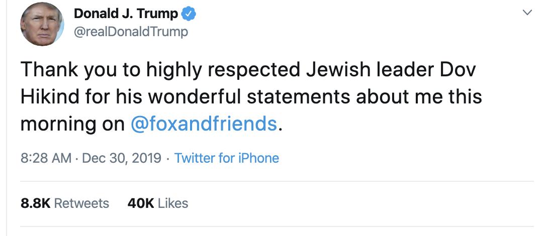 Screen-Shot-2019-12-30-at-10.28.52-AM Trump Gets Blasted After Politicizing Hanukkah Stabbings Anti-Semitism Donald Trump Featured Mental Illness National Security Top Stories