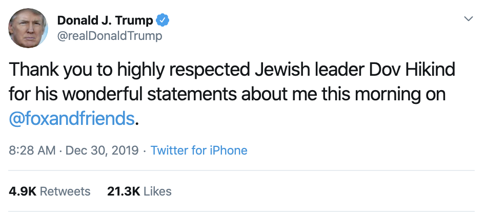 Screen-Shot-2019-12-30-at-9.13.28-AM Trump Desperately Panders To Jews On Twitter Moments Ago Anti-Semitism Featured Hate Speech Terrorism Top Stories